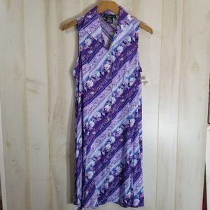 Vintage Floral Purple Stripe Shirt Dress S 80s 90s